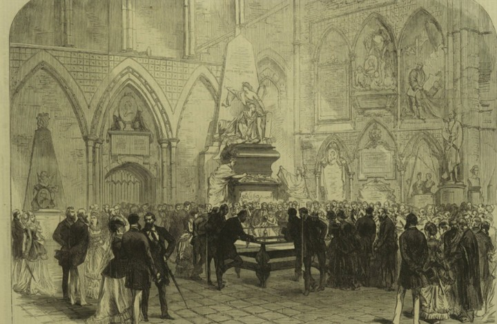"""Figure 1: The Grave of Charles Dickens in Poets' Corner, Westminster Abbey."""" Illustrated London News, 25 June 1870, p. 652. The Illustrated London News Historical Archive, 1842-2003"""