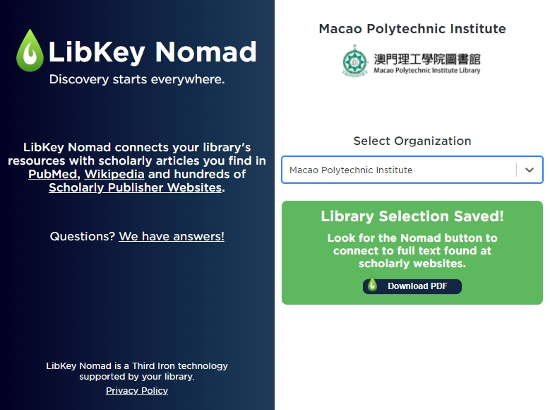 LibKey Nomad Configuration Screen
