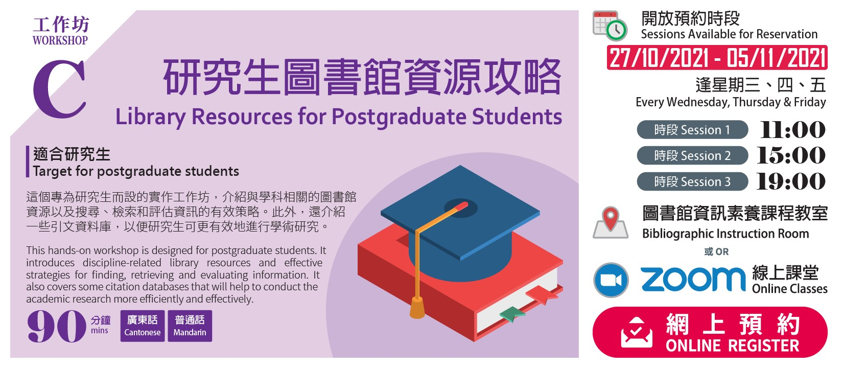 LIBRARY WORKSHOP C: Library Resources for Postgraduate Students